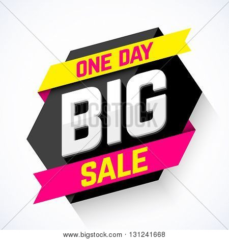 One Day Big Sale banner vector illustration