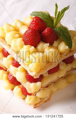 French Cuisine: Strawberry Millefeuille With Custard Close-up. Vertical