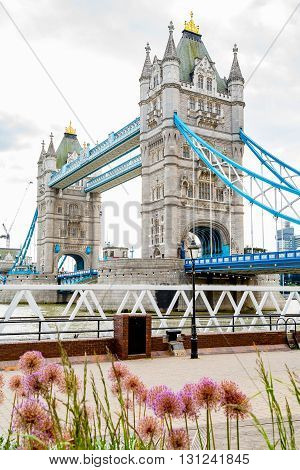 View The Tower Bridge from promenade. London England UK