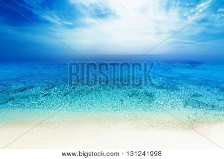 Tropical paradise beach / Sea beach blue sky sand sun daylight relaxation landscape for design postcard or calendar