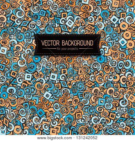 Modern style orange blue color scheme background with swirls elements