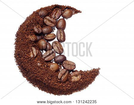 Ground coffee and coffee beans closeup isolated on white