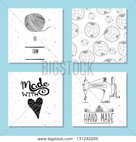 Printable cute cards for sites in the retro style of Hand-drawn. Sewing device and equipment for manufacturing and clothing and textiles. Hand-made. Vector illustration