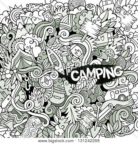 Cartoon hand-drawn doodles camping illustration. Line artdetailed, with lots of objects vector design background