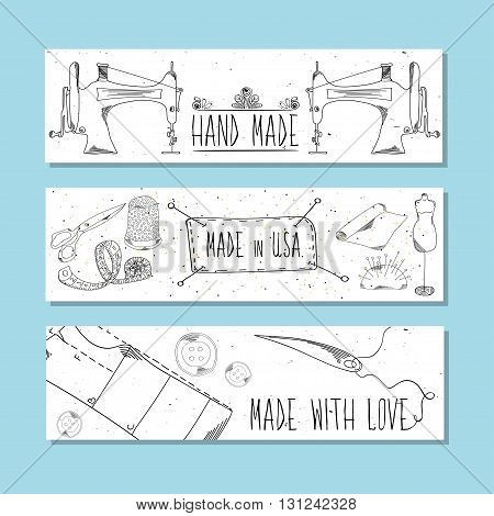 The website banners in retro style Hand-drawn. Sewing device and equipment for manufacturing and clothing and textiles. Hand-made. Vector illustration