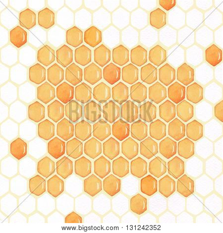 Honeycomb2. Honey. Background. Watercolor drawing. half-empty, hand-drawing,