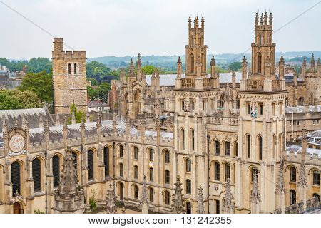 View of All Souls College at the university of Oxford. Oxford England