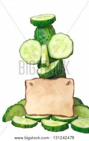 Cucumber and note isolated on white background