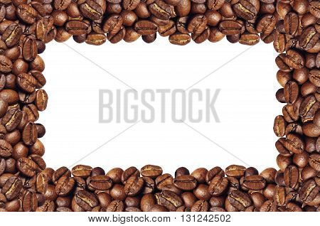 Frame of coffee beans isolated on white