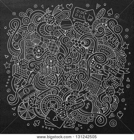 Cartoon hand-drawn doodles casino, gambling illustration. Chalkboard detailed, with lots of objects vector design background