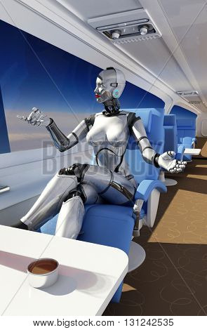 Cyborg in the chair of modern aircraft.3d render