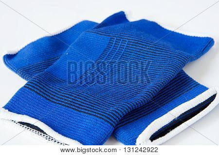 Pair of blue sport supporters put on a white background.