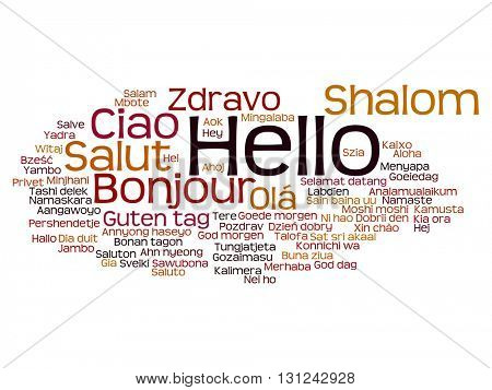 Vector concept or conceptual abstract hello or greeting international word cloud in different languages or multilingual