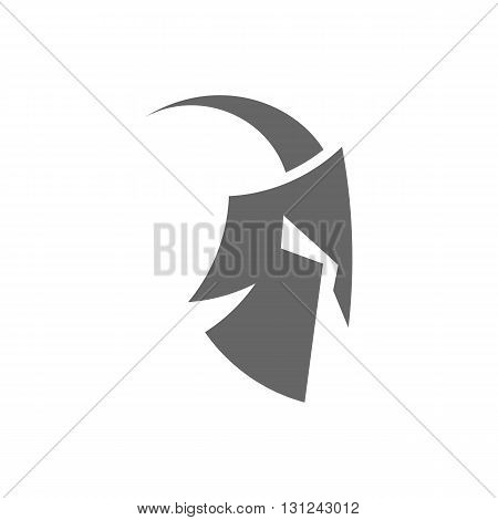 Roman or Greek spartan warrior helmet silhouette vector illustration isolated on white background.