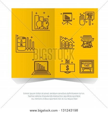 Set icons on a theme of economic crisis. Vector
