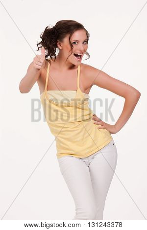 Young beautiful emotional woman on isolated background