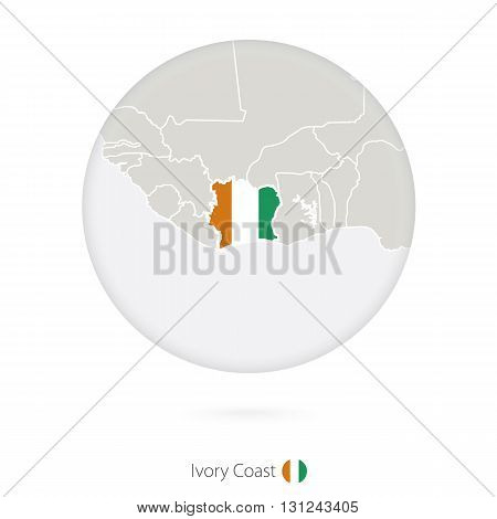Map Of Ivory Coast And National Flag In A Circle.