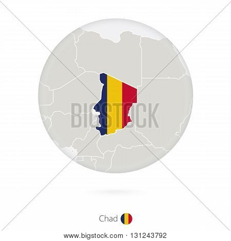 Map of Chad and national flag in a circle. Chad map contour with flag. Vector Illustration.