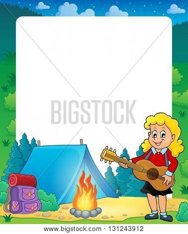 Summer frame with girl guitar player - eps10 vector illustration.