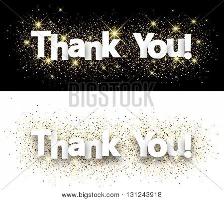 Thank you paper banners set with shining sand. Vector illustration.