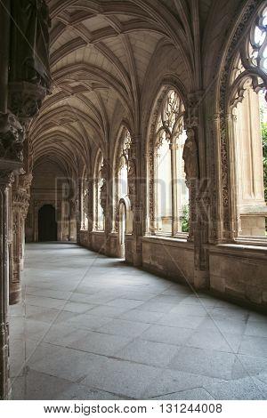 Toledo Spain - September 30 2007: Gothic atrium of Monasterio San Juan de los Reyes or Monastery of Saint John of the Kings