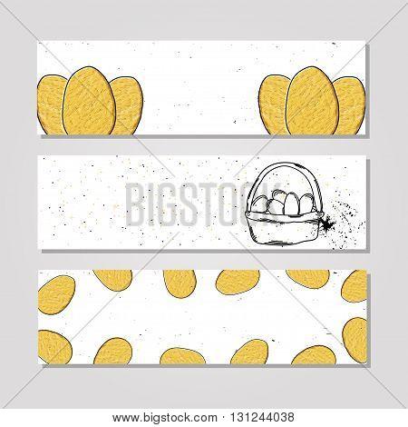 Hand drawn banner farm fresh eggs chicken. Protein Breakfast. Vegetarian food. Chicken Easter eggs. Vector illustration