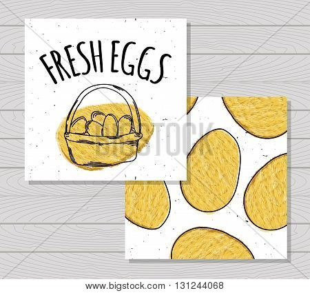 Hand drawn colorful card farm fresh eggs chickens. Protein Breakfast. Vegetarian food. Chicken Easter eggs in a basket. Vector illustration