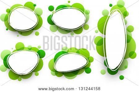 Paper oval white backgrounds set with green bubbles. Vector illustration.