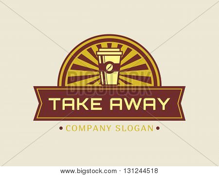 Coffee take away logo. Template in retro style for coffee shop or cafe. Logotype isolated on white background. Vector concept badge.