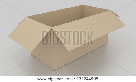 Empty brown cardboard box opened ready to wrap things in it on white background