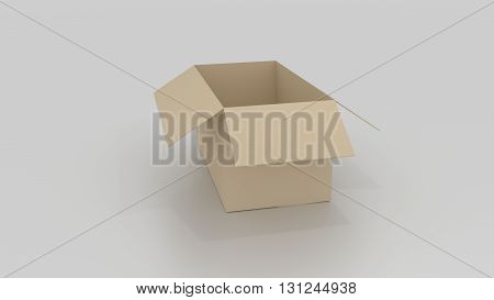 Empty Brown Cardboard Box Opened, Ready To Wrap Things In It On White Background
