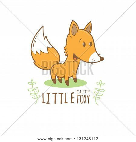 Card with cute cartoon fox. Little funny animal. Children's illustration. Vector image.