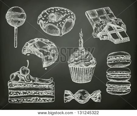 Confectionery, sketches on the chalkboard vector set