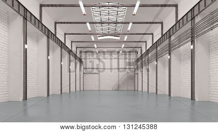 Big empty warehouse interior for storage or forwarding agency (3D Rendering)