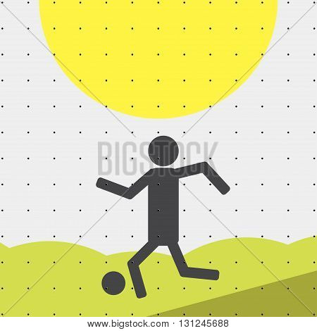 Colorful sports poster-style minimalism flat for commercial websites. Football player running with the sword. Vector illustration