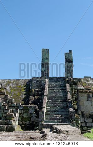 ruins of gate inside ratu boko palace complex