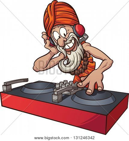 Cartoon DJ guru. Vector clip art illustration with simple gradients. All in a single layer.
