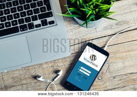 Malaga, Spain - June 24, 2016: Wordpress mobile app in a phone screen. Wordpress is one of the most important CMS system, and a very popular way to create web sites.