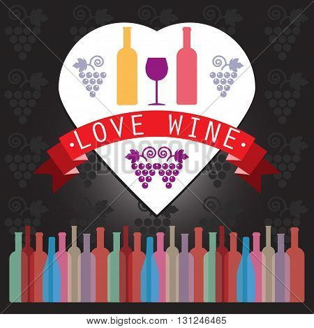Wine tasting card two yellow and red bottles in a heart frame over a silver background with grape sign and a purple glass. Digital vector image.