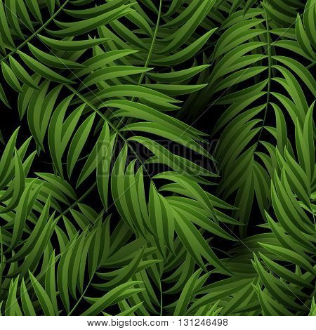 Seamless tropical jungle floral pattern with palm fronds. illustration. Green Palm leaves pattern on black background