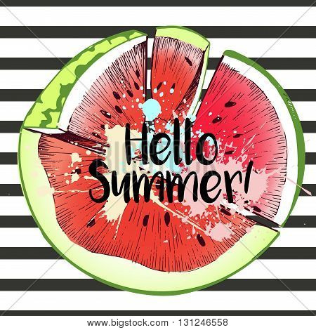 Vector illustration of watermelon slices in round border composition. Hello summer. Isolated on black stripe background.