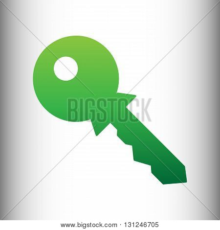 Key sign. Green gradient icon on gray gradient backround.