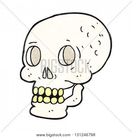 freehand textured cartoon halloween skull