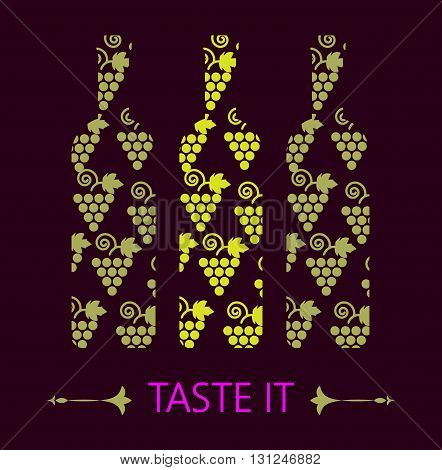 Red and white wine tasting card grapes in shape of red and yellow bottle over a dark background with water color. Digital vector image.