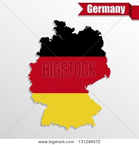 Germany map with Germany flag inside and ribbon