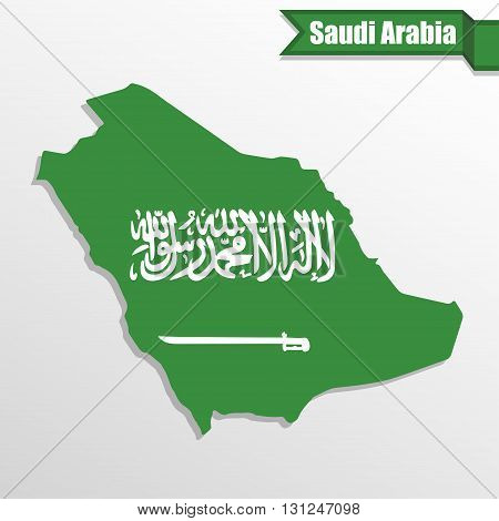 Saudi Arabia map with flag inside and ribbon