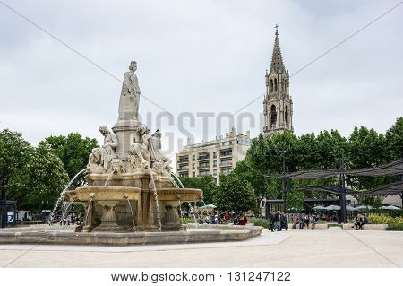 NIMES FRANCE - MAY 04 2015: Esplanade Charles de Gaulle of Nimes. Nimes is a famous and very popular among tourists city in Provence in south of France