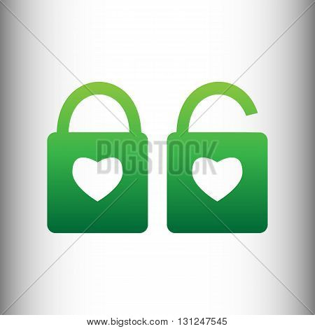 lock icons. A simple silhouette of the lock for the door. Shape of a heart. Green gradient icon on gray gradient backround.
