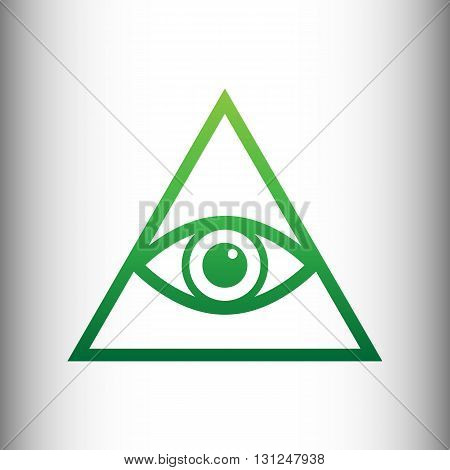 All seeing eye pyramid symbol. Freemason and spiritual. Green gradient icon on gray gradient backround.
