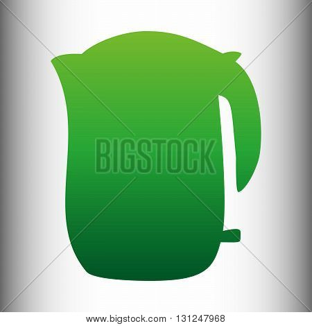 Electric kettle icon. Green gradient icon on gray gradient backround.